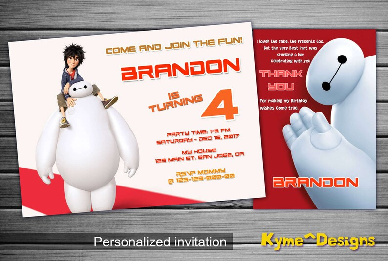 Big Hero 6 Invitation Birthday Party 5x7