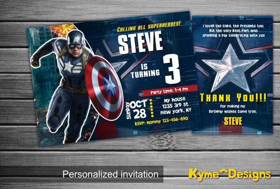 Captain America Invitation Captain America Birthday Captain Etsy