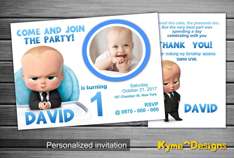 Boss Baby Invitation Birthday 5x7