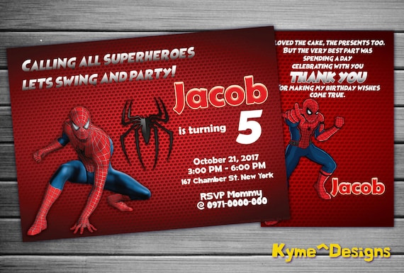 Spiderman Invitation Spiderman Spiderman Party Spiderman Etsy