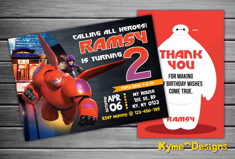 Big Hero 6 Birthday Invitation Superhero Invite Baymax