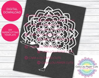 April, Mandala Lady Papercutting Template for Personal & Commercial use.