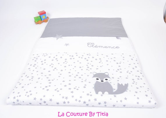 Mattress cover changing towel hand made star light grey and Fuchsia @lacouturebytitia