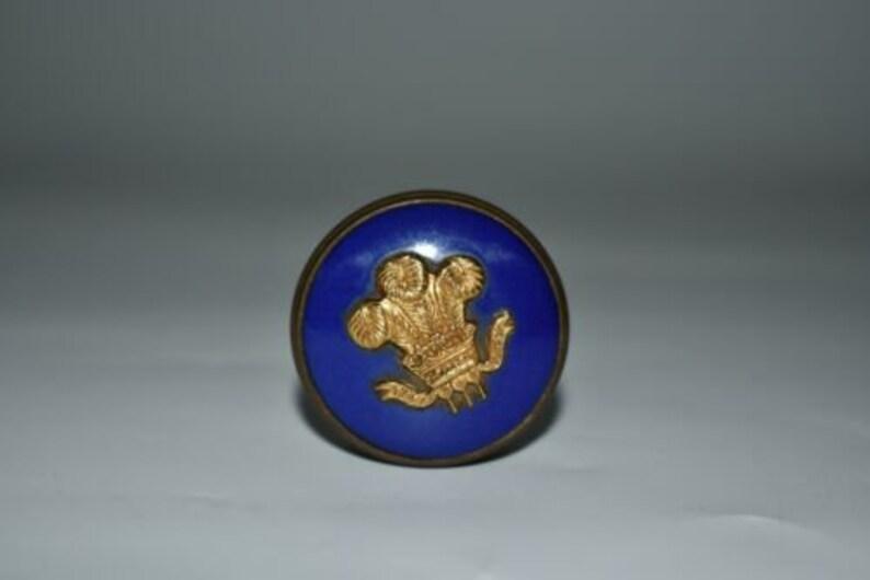 Vintage commemorative princess diana wedding blue enamel brass welsh pill  box