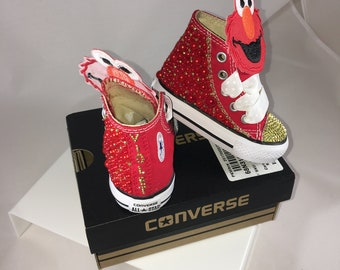 55e74c046f2d Elmo Inspired~ Sesame Street ~ Kid s Converse ~ Embellished Converse ~  Bling Converse ~ Canvas Sneakers ~ Custom Converse ~ Birthday Shoes
