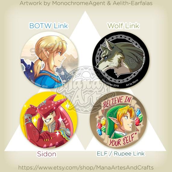 Legend Of Zelda Sidon Wolf Link Botw Link Oot Link Pick Your Buttons 1 5