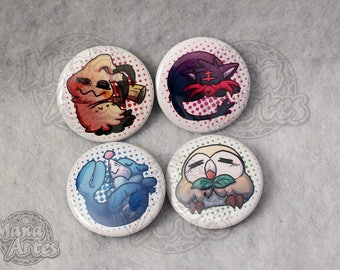 Alola Starters and friend Buttons (Pick your Buttons) 1.5""