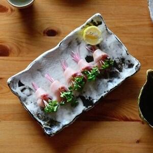 Pottery Handmade Kohiki Black and White rectangle plate dinnerware sushi plate Japanese Wabi Sabi Eco Friendly  Hiroshi Hanzawa