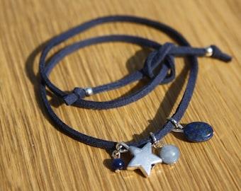 Link suede tie + stones semi precious silver suede