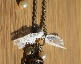 Lace and bird cage + Bronze chain necklace
