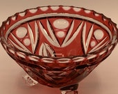 Ruby Red Cut to Clear Bohemian Footed Bowl Art Glass Egermann Inspired Glass Candy Dish Made in Germany