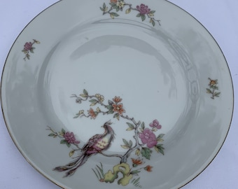 Vintage Bluebird Swallows China Serving Dish Oval Platter Handpainted Hand Painted German Altwasser Silesia Shabby Cottage Farmhouse Country
