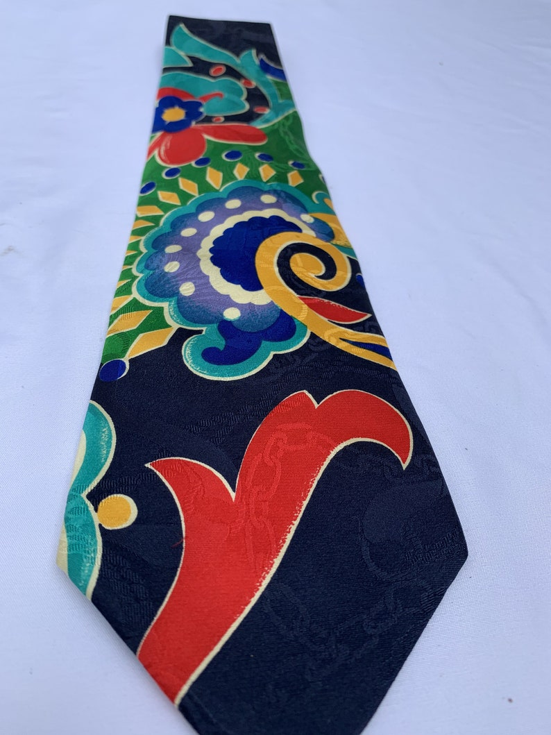 Perfect Condition Black Background with Bright Colors Graphic Design Wilkes Bashford Vintage Men/'s Silk Necktie