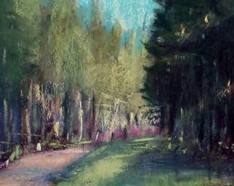 """Original pastel study of the painting """"The pines"""""""