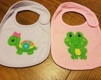 Frog and Turtle Applique Bibs