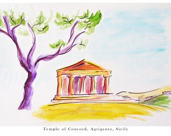 Watercolour of the Temple of Concord, Valley of The Temples, Agrigento, Sicily