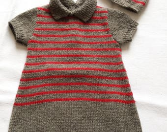 Dress and hat with wool and acrylic
