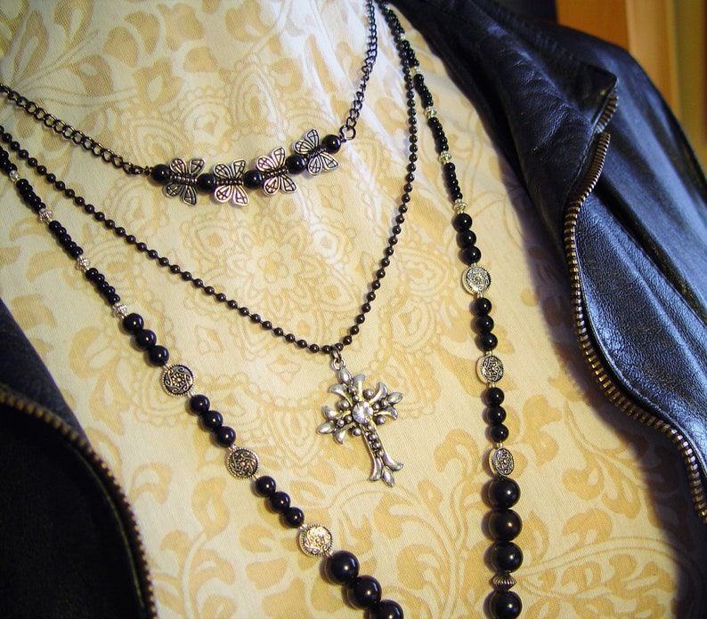 Biker Jewelry Metal Jewelry Valentine/'s Day Gearhead Necklace Grunge Jewelry Layered Necklace Black and White Pendant