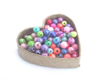50 beads mixed acrylic spacer 8mm round
