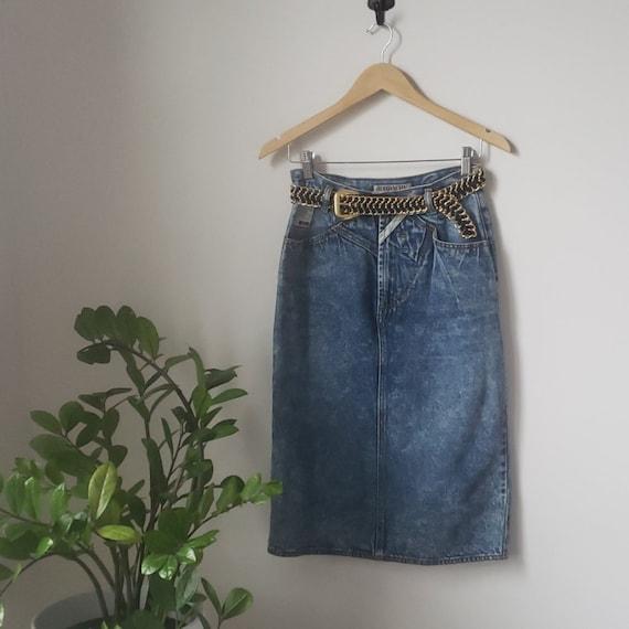 Vintage 1980s Acid Wash Jordache Denim Blue Skirt|