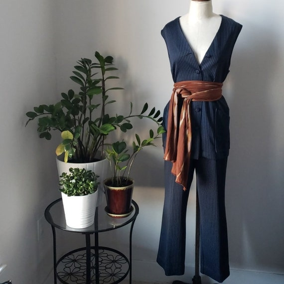 Vintage 1970s Navy and White Pinstripe Vest and Pa