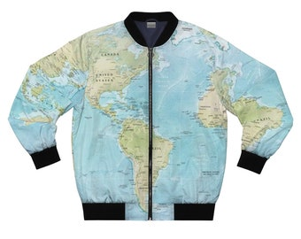 World Map Atlas Bomber Jacket