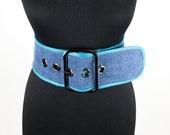 Wide Denim Women Belt Denim Belt with Leather Edging Big Buckle Corset Belt Waist Cincher Waist Shaper Belt Dress Belt