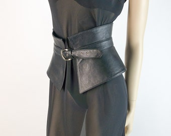 1c3235128d Black Leather Peplum Belt