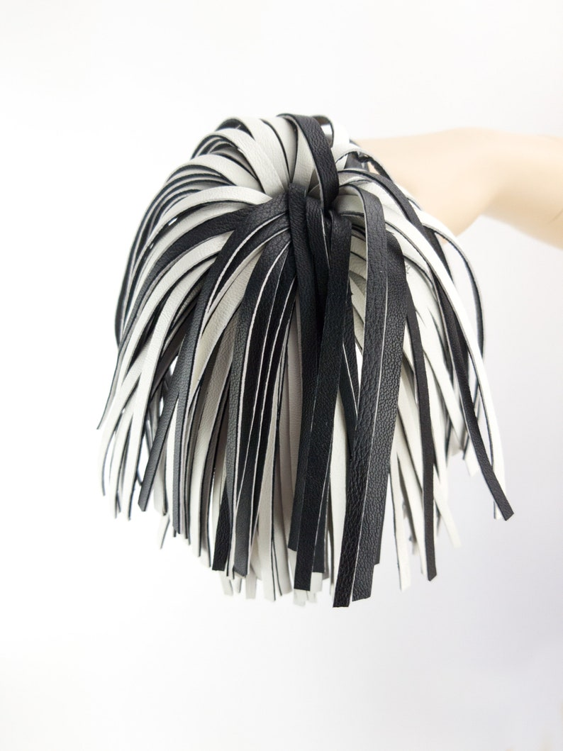 Big Long Leather Tassel Black and White Duo Colors Keychain Gift Accessories Bag  Pendant