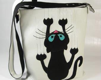 Women leather cat bag, Cat bag, Black Cat Bag, Bag with cat, Leather shoulder bag, Cat Lover Bag, Cat Handmade Bag, Cat Lover Gift