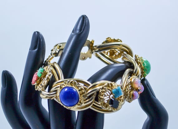 Vintage gold tone metal glass colorful Stone cabochon Cameo chunky mid-century bracelet