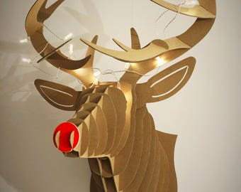 Cardboard Jungle Rudy Reindeer Deer Head With Red Nose And LED Lights