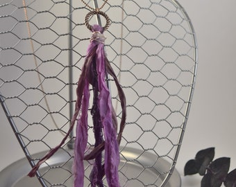Amethyst circle of love tassel long necklace