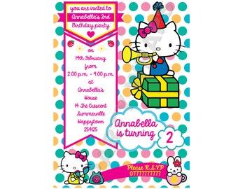 Hello kitty birthday invitation etsy hello kitty melody rabbit birthday party invitation digital download print at home filmwisefo