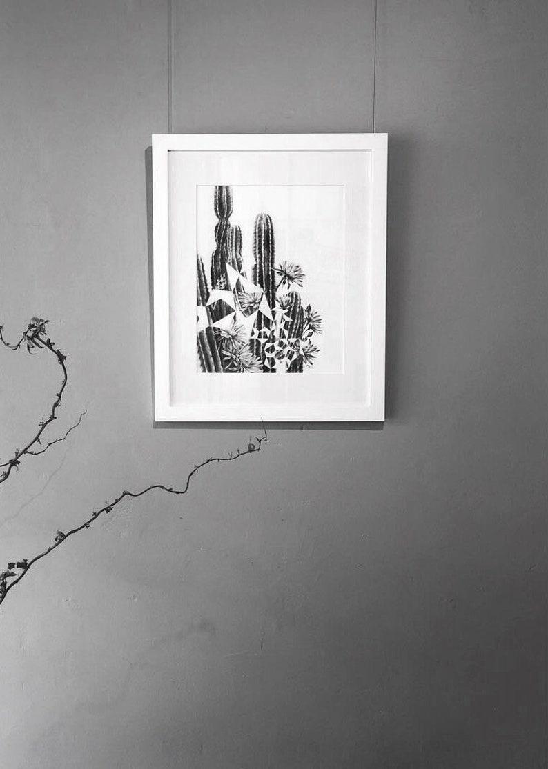 Cactus Pentigree  Original Charcoal Artwork Framed image 0