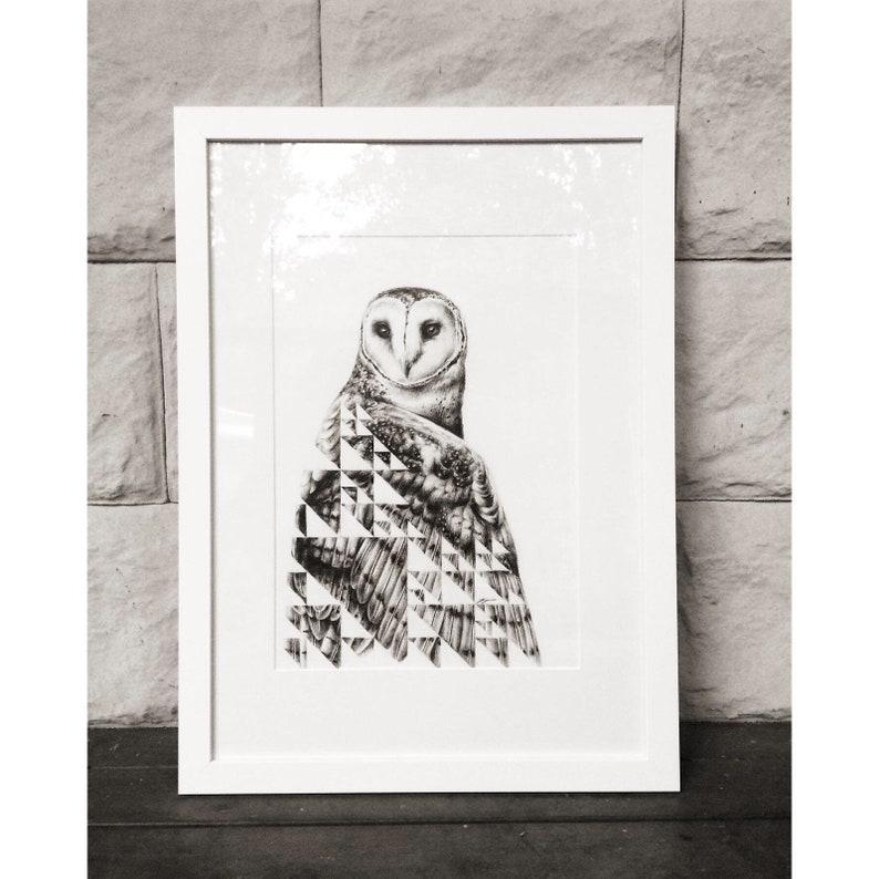 Sierpinski and the Owl  Original Charcoal Artwork Framed or image 0