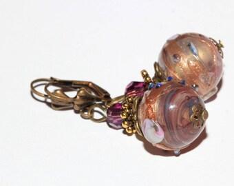 Pink lampwork beads earrings