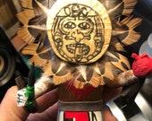 Aztec Sun Tonatiuh God with Sacrifice Heart and Dagger - Native Mexica Kachina Doll - Wood Carving - Super Rare - one of a kind