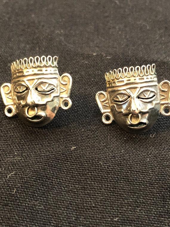 Xipe Totec Earrings, Screw Clip-Ons, Aztec Mexica