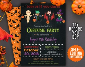 instant download halloween invitation printable halloween costume party invitation halloween birthday invitation halloween costume party