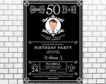 Instant Download Male Birthday Party Invitations Man Etsy