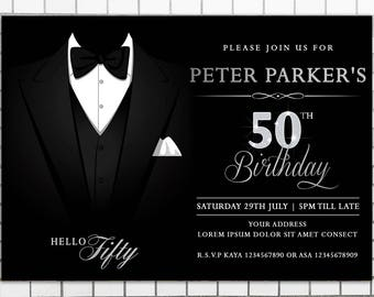Male birthday party invitations man birthday invitation men etsy tuxedo adult birthday invitation for men printable birthday invitation 40th 50th 60th 70th invitations filmwisefo