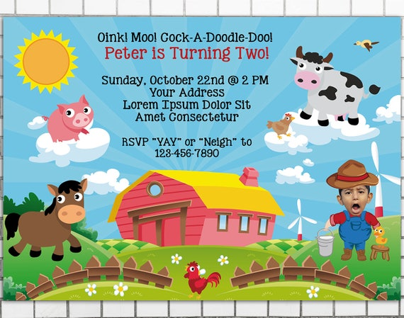 Farm Birthday Invitations Pet Party