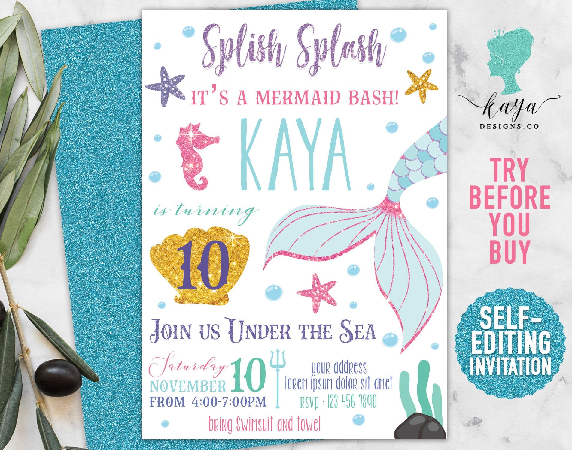 Instant Download Mermaid Birthday Invitations Pastel   Etsy