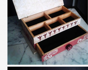 Jewlery box, Handmade one of a kind 2 tier. Customize your own style, colors and more!