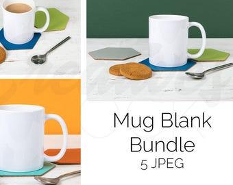 Download Free Bundle of 5 White Mug Mockup, Blank Mug Mockup, White Cup Mockup, Coffee Mug, Mug Stock Photograph, JPEG, Instant Digital Download PSD Template