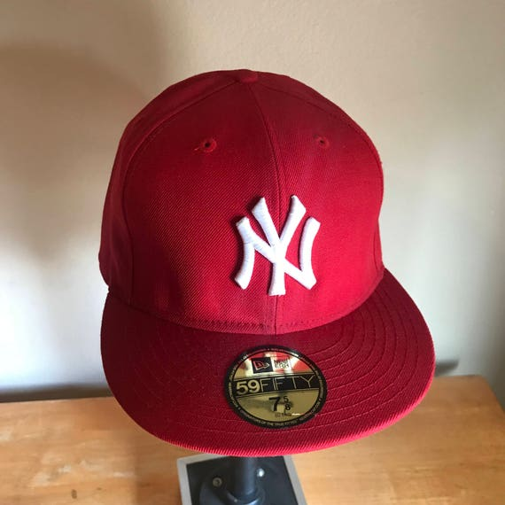 9148027095d authentic new york yankees fred durst red new era 59fifty deadstock fitted  baseball cap size 7