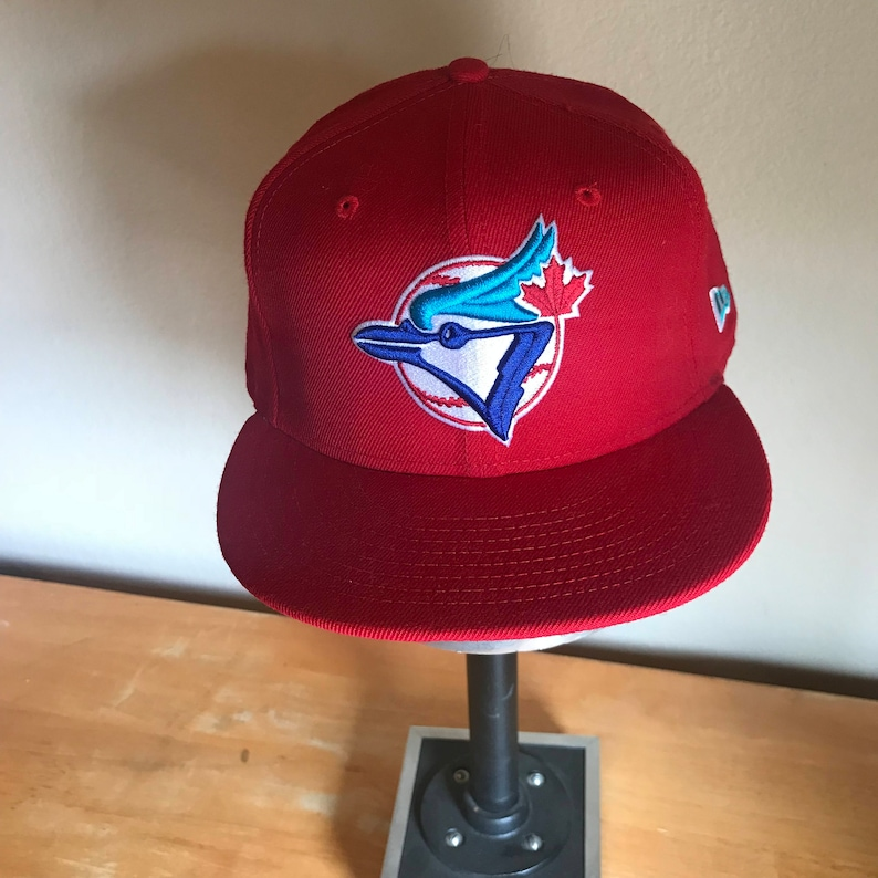 outlet store 67505 193af Toronto Blue Jays Rare Red New Era 59FIFTY Fitted Baseball Cap   Etsy