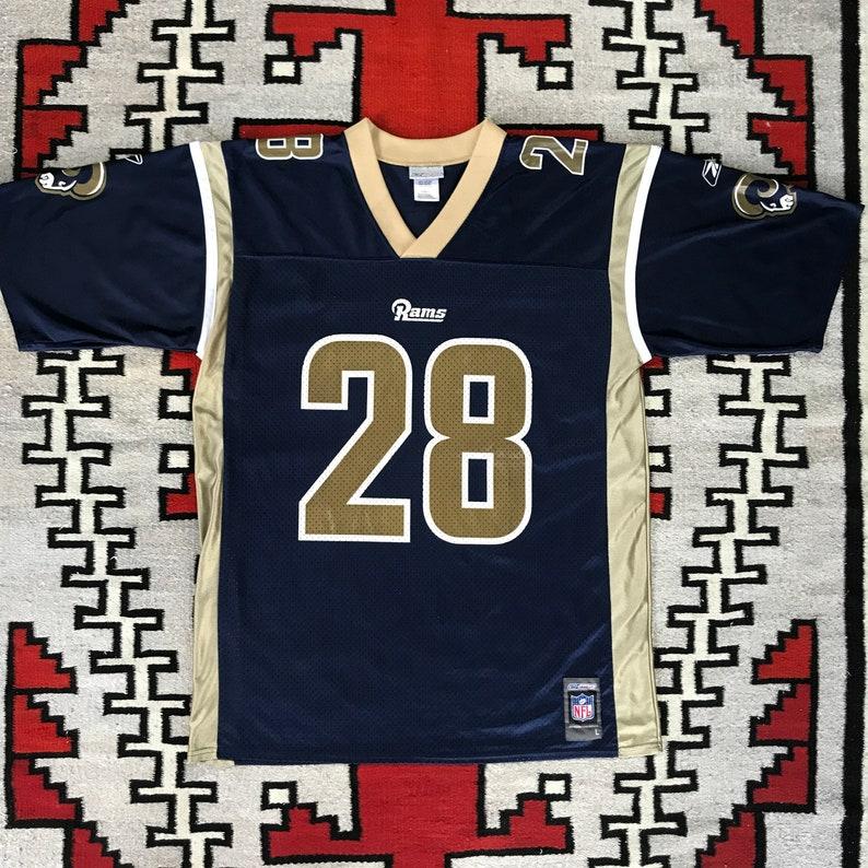 newest ca8e4 8241e Reebok NFL Football St. Louis Rams Marshall Faulk Jersey Size L