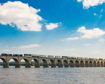 Train Crossing over Bridge, Sky and Clouds, Transportation Industry and Shipping Industry, River Crossing, Colors and Light